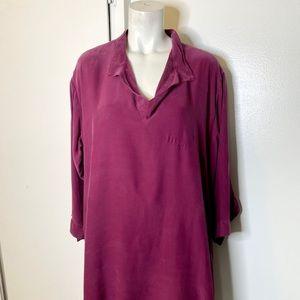 URU Purple Magenta Silk Blouse Top XL asymetrical